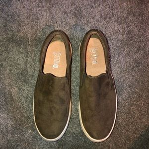 Navy Green suede slip on shoes
